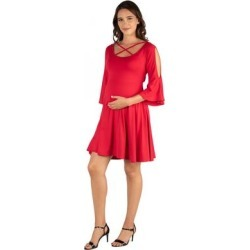 24seven Comfort Apparel Criss Cross Neckline Maternity Dress found on Bargain Bro Philippines from Overstock for $31.12