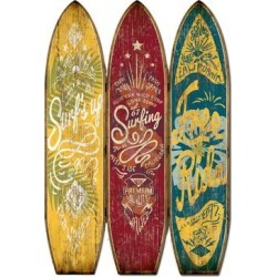 Beach Themed Surfboard Shaped 3 Panel Wooden Room Divider, Multicolor - 71 H x 2 W x 47 L Inches found on Bargain Bro Philippines from Overstock for $1333.02