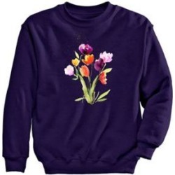 Women's Plus Graphic Sweatshirt – Tulips, Deep Purple/Tulips 2XL found on Bargain Bro from Blair.com for USD $24.31