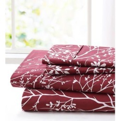 Spirit Linen Home Sheet Sets Burgundy - Burgundy & White Foliage Sheet Set found on Bargain Bro Philippines from zulily.com for $14.99
