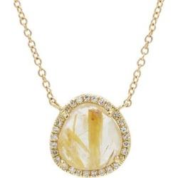 Rutilated Quartz Necklace With Diamonds - Metallic - KAMARIA Necklaces