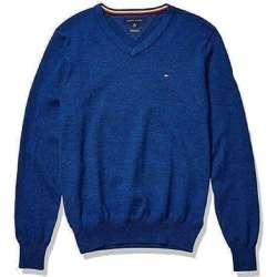 Tommy Hilfiger Mens Sweater Heather Blue Small S Marled V-Neck Pullover (S), Men's(cotton) found on Bargain Bro from Overstock for USD $25.06