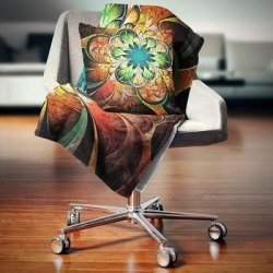Designart 'Colorful Fractal Flower Pattern' Floral Throw Blanket (59 in. x 71 in.), Orange, DESIGN ART found on Bargain Bro from Overstock for USD $40.69