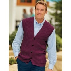 Men's John Blair Cable-Front Vest, Wine Red 2XL Tall found on Bargain Bro Philippines from Blair.com for $44.99