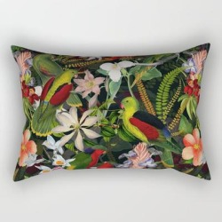 Rectangular Pillow | Vintage & Shabby Chic - Black Tropical Parrot Night Garden by Art & Vintage & Love - Small (17