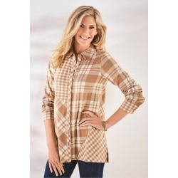 Women's Paramour Plaid Top by Soft Surroundings, in Camel/Ivory Plaid size XS (2-4)