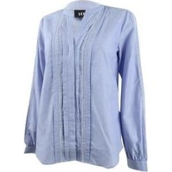 DKNY Women's Pleated Ladder-Trim Shirt (M), Blue(cotton) found on Bargain Bro India from Overstock for $40.49