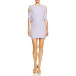 Halston Heritage Women's Gathered Cold Shoulder Sleeveless Mini Dress (Lavender Ice - 0), Purple White(polyester) found on MODAPINS from Overstock for USD $20.04