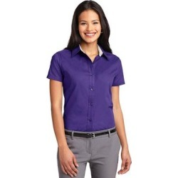 Port Authority L508 Women's Short Sleeve Easy Care Shirt in Purple/Light Stone size Medium   Cotton/Polyester Blend found on Bargain Bro from ShirtSpace for USD $15.06