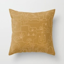 Saguaro Cactus Line Drawing Couch Throw Pillow by Urban Wild Studio Supply - Cover (16