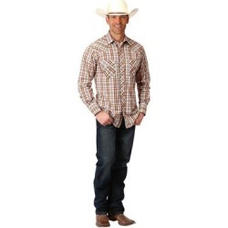 Roper Western Shirt Mens L/S Plaid Snap Brown (3XL), Men's(cotton) found on Bargain Bro India from Overstock for $40.44