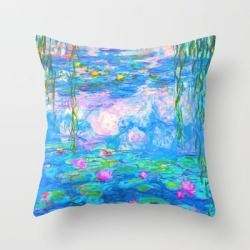 Throw Pillow | Monet Water Lilies - Pastel Fluro by Lenore - Cover (16