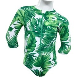 Marina West Girls' Rashguards Leaves - Dark Green & White Palm Leaf Zip-Front One-Piece Rashguard - Toddler & Girls found on Bargain Bro India from zulily.com for $24.99