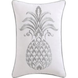 Oceanfront Resort Tropical Plantation Cotton Embroidered 12 x 18 Pineapple Pillow (Polyester - Accent), Gray found on Bargain Bro from Overstock for USD $33.58