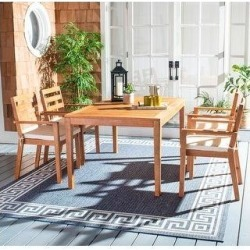 SAFAVIEH Outdoor Living Wilming 5-Piece Natural/ Beige Dining Set (Natural/Beige - 5-Piece Sets)(Wood) found on Bargain Bro from Overstock for USD $455.99