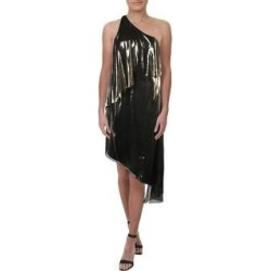 Halston Heritage Women's Asymmetrical Metallic One Shoulder Popover Dress - Gold (6)(polyester) found on MODAPINS from Overstock for USD $20.43