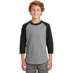 Sport-Tek YT200 Youth Colorblock Raglan Jersey T-Shirt in Heather Grey/Black size XL | Cotton found on Bargain Bro from ShirtSpace for USD $6.54
