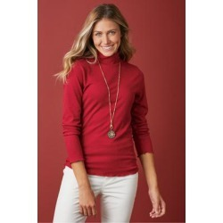 Women's Margherita Turtleneck Top by Soft Surroundings, in Red Dahlia size XS (2-4)