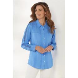 Women's Bettina Shirt by Soft Surroundings, in Dusty Blue size XS (2-4)