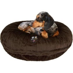 Bessie and Barnie Signature Brown Forest Luxury Extra Plush Faux Fur Bagel Pet Bed, 50