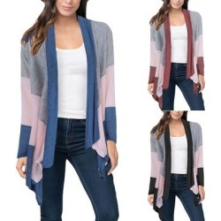 Hit Color Long Sleeve Draped Cardigan (Black - XLarge), Women's(cotton, printed) found on Bargain Bro Philippines from Overstock for $44.35