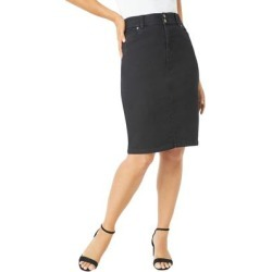 Plus Size Women's Tummy Control Denim Skirt by Jessica London in Black (Size 18 W) found on Bargain Bro Philippines from Ellos for $44.99