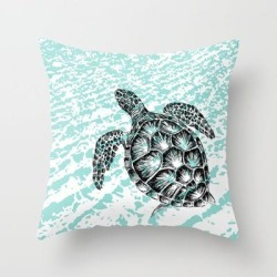 """Sea Turtle Print In Black And White Couch Throw Pillow by Rachel's Fine Lines - Cover (16"""" x 16"""") with pillow insert - Indoor Pillow"""