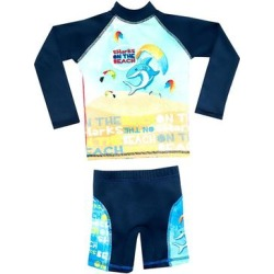 Color Fingers Boys' Board Shorts A/S - Blue Beach Sharks Long-Sleeve Rashguard Set - Toddler & Boys found on Bargain Bro Philippines from zulily.com for $29.99