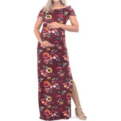 Mother Bee Maternity Women's Maxi Dresses Burgundy-07 - Burgundy Floral Maternity Short-Sleeve Maxi Dress found on Bargain Bro from zulily.com for USD $9.11