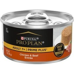 Purina Pro Plan Prime Plus Adult 7+ Chicken & Beef Entree Classic Canned Cat Food, 3-oz, case of 24