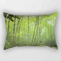 Rectangular Pillow | Spring Forest Stream by Fantasyartdesigns - Small (17