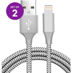 KINBOOFI Lightning Cables Silver - Silver Woven Lightning Cable - Set of Two found on Bargain Bro from zulily.com for USD $7.59