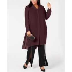 INC Womens Burgundy Sheer Long Sleeve V Neck Tunic Top Size M (Burgundy - M), Women's, Red(Polyester, Solid) found on Bargain Bro India from Overstock for $17.98