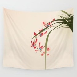 Oriental Style Painting, Red Orchid Flowers Wall Hanging Tapestry by Ori Artiste - 51