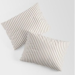 Warm Taupe Stripes King Size Pillow Sham by Sara Valor - STANDARD SET OF 2 - Cotton found on Bargain Bro from Society6 for USD $30.39
