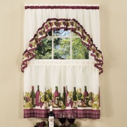 Wide Width Chardonnay Printed Tier and Swag Window Curtain Set by Achim Home Dcor in Burgundy (Size 57