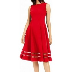 Calvin Klein Women's Dress Real Red Size 8 A-Line Shadow Stripe Hem (8)(polyester) found on Bargain Bro from Overstock for USD $29.39