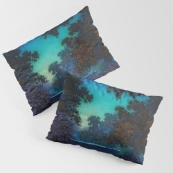 King Size Pillow Sham | Blue Fountain At Twilight By Maxfield Parrish by Jeanpaul Ferro - STANDARD SET OF 2 - Cotton - Society6 found on Bargain Bro from Society6 for USD $30.39