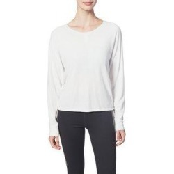Splendid Women's Strappy 2 Way Ruched Long Sleeve Activewear Sweater (Eggshell - L)(knit) found on Bargain Bro from Overstock for USD $10.86