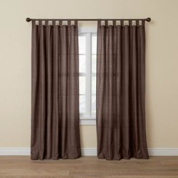 Wide Width Poly Cotton Canvas Tab-Top Panel by BrylaneHome in Chocolate (Size 48