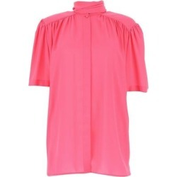 Pleated Neck Tie Blouse - Pink - Balenciaga Tops found on Bargain Bro Philippines from lyst.com for $532.00
