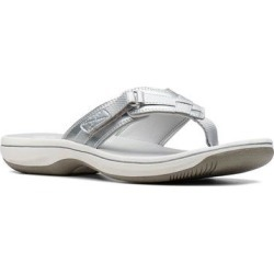Clarks Breeze Sea Cloudstepper Women's Flip Flop Sandals, Size: 9, Silver found on Bargain Bro from Kohl's for USD $32.29