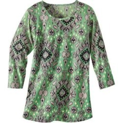 Haband Womens 3/4-Sleeve Print Artista Knit Top, Jade, Size L found on Bargain Bro Philippines from Haband for $17.99