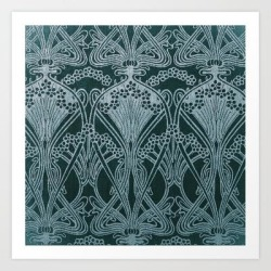 Art Print | Art Nouveau, Silver Gray Blue,pattern, Vintage,retro,elegance,chic, by Love8 - X-Small - Society6 found on Bargain Bro India from Society6 for $19.99