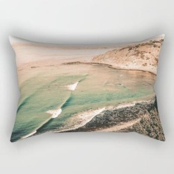 """Rectangular Pillow   California Pacific Coast Highway // Vintage Waves Crashing On The Beach Teal Ocean Water by Desertxpalm - Small (17"""" x 12"""") - Society6"""