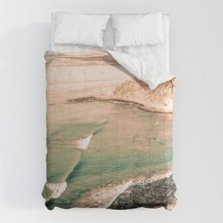 """Comforters   California Pacific Coast Highway // Vintage Waves Crashing On The Beach Teal Ocean Water by Desertxpalm - Queen: 88"""" x 88"""" - Microfiber Polyester - Society6"""