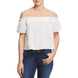 DL1961 Womens Blouse Woven Off-The-Shoulder - White found on Bargain Bro India from Overstock for $19.59