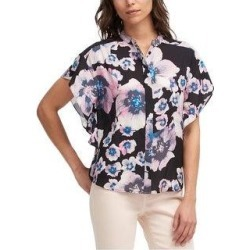 DKNY Womens Floral Flutter Sleeve Button Down Blouse, Black, Large (Black - L), Women's(polyester) found on Bargain Bro Philippines from Overstock for $44.94