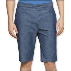 Calvin Klein Mens Chambray Casual Walking Shorts, Blue, 38 (Blue - 38), Men's(cotton, solid) found on Bargain Bro from Overstock for USD $27.57