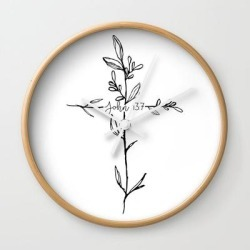 John 13:7 Cross Wall Clock by Move-mtns - Natural - White found on Bargain Bro India from Society6 for $22.39